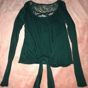 Teal long sleeve with lace and criss cross design